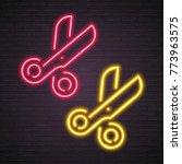 scissors symbol neon light... | Shutterstock .eps vector #773963575