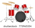 Realistic Drum Set On A White...