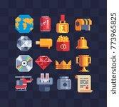 pixel art web icons set. maps ... | Shutterstock .eps vector #773965825