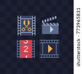 video editor. gallery of films. ... | Shutterstock .eps vector #773965831