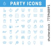a set of simple outline party... | Shutterstock .eps vector #773968891
