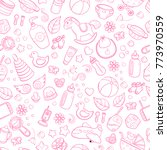 Seamless background, texture, backdrop, pattern, wallpaper with children cartoon doodle toys. Educational games for kids illustration. Baby shower. Icons set. Newborn baby vector collection. baby care   Shutterstock vector #773970559