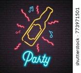 beer bottle glass neon light... | Shutterstock .eps vector #773971501