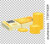 crypto currency bitcoin concept.... | Shutterstock .eps vector #773974309