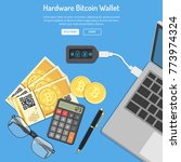 crypto currency bitcoin...   Shutterstock .eps vector #773974324