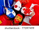 group of people with flags of... | Shutterstock . vector #77397499