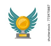 golden trophy cup with glassy... | Shutterstock .eps vector #773975887