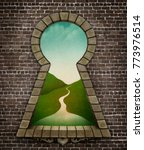 background with bizarre keyhole ... | Shutterstock . vector #773976514