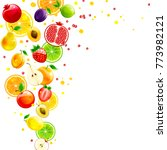 whirlwind of juicy fruits on a... | Shutterstock .eps vector #773982121