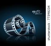 realistic vector 3d film reel   Shutterstock .eps vector #77398234