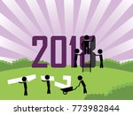 good bye 2017 and happy new... | Shutterstock .eps vector #773982844