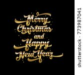 golden text on black background.... | Shutterstock .eps vector #773987041