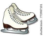 pair of white ice skates... | Shutterstock .eps vector #773987101