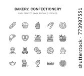 bakery  confectionery flat line ... | Shutterstock .eps vector #773987551