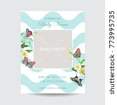 baby arrival floral card with... | Shutterstock .eps vector #773995735