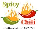 vintage vector chili peppers... | Shutterstock .eps vector #773995927