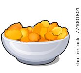 ceramic bowl with corn flakes... | Shutterstock .eps vector #774001801