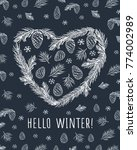hello winter. heart with pine... | Shutterstock .eps vector #774002989
