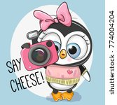 cute cartoon penguin with a...   Shutterstock .eps vector #774004204