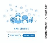 car service concept with thin... | Shutterstock .eps vector #774005539