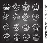 delicious cupcakes and vector... | Shutterstock .eps vector #774014209