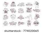 set of holiday happy new 2018... | Shutterstock .eps vector #774020065