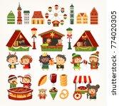 set of elements and food vans... | Shutterstock .eps vector #774020305