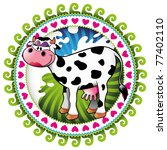 Illustrated colorful label with comic cow. Vector illustration. - stock vector