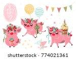 beautiful piggy birthday... | Shutterstock .eps vector #774021361