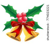 christmas holly leaf with bells  | Shutterstock .eps vector #774023221