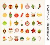 set of christmas tree... | Shutterstock .eps vector #774023935