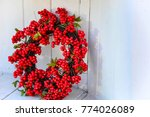 christmas red holly berry... | Shutterstock . vector #774026089