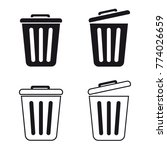 trashcan set   vector icons | Shutterstock .eps vector #774026659