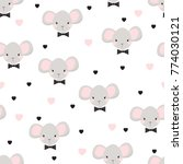funny baby pattern with cute... | Shutterstock .eps vector #774030121