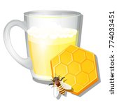 a glass mug of milk and honey...   Shutterstock .eps vector #774033451