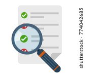 magnifier and checklist icon in ... | Shutterstock .eps vector #774042685