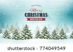 merry christmas landscape... | Shutterstock .eps vector #774049549
