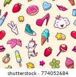 graffiti seamless pattern with...   Shutterstock . vector #774052684