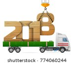crane loads new year 2018 of... | Shutterstock . vector #774060244