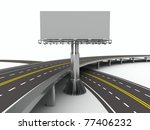 asphalted road with billboard.... | Shutterstock . vector #77406232