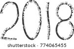 tire tracks . new year 2018.... | Shutterstock .eps vector #774065455