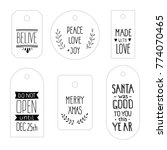 christmas tag set. holiday gift ... | Shutterstock .eps vector #774070465