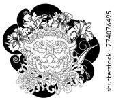 black and white lucky lion...   Shutterstock .eps vector #774076495