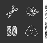 tailoring chalk icons set.... | Shutterstock .eps vector #774077101