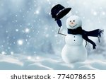 winter christmas background... | Shutterstock . vector #774078655