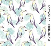 seamless pattern with hand... | Shutterstock .eps vector #774091309