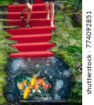 Small photo of Red carpet staircase and ice hole phantasy manipulation