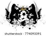 heraldic black wolf f tbol... | Shutterstock .eps vector #774093391