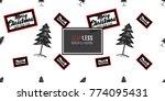 vector big forest fir and merry ... | Shutterstock .eps vector #774095431