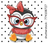 cute cartoon penguin with red... | Shutterstock .eps vector #774108727